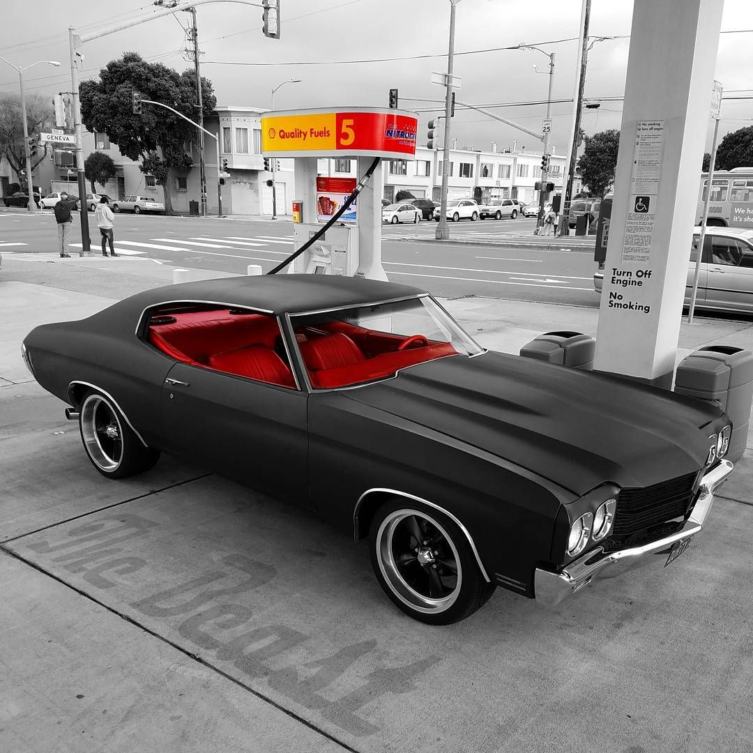 70 chevelle matte black becausess with red interior