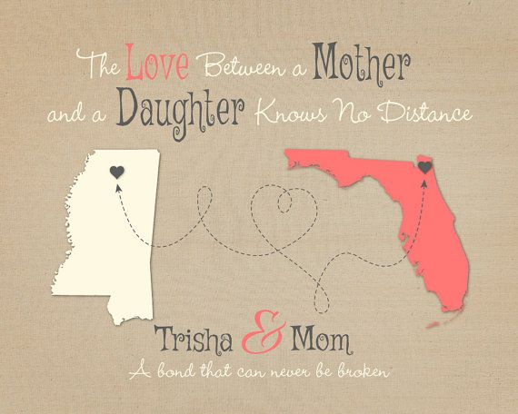 2 Country Distance Gift for Mother and Daughter