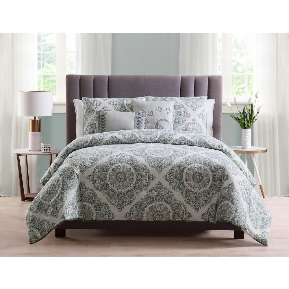 Morgan Home Eva 5 Piece Grey Reversible Medallion Full Queen Comforter Set Comforter Sets Comforters King Comforter Sets