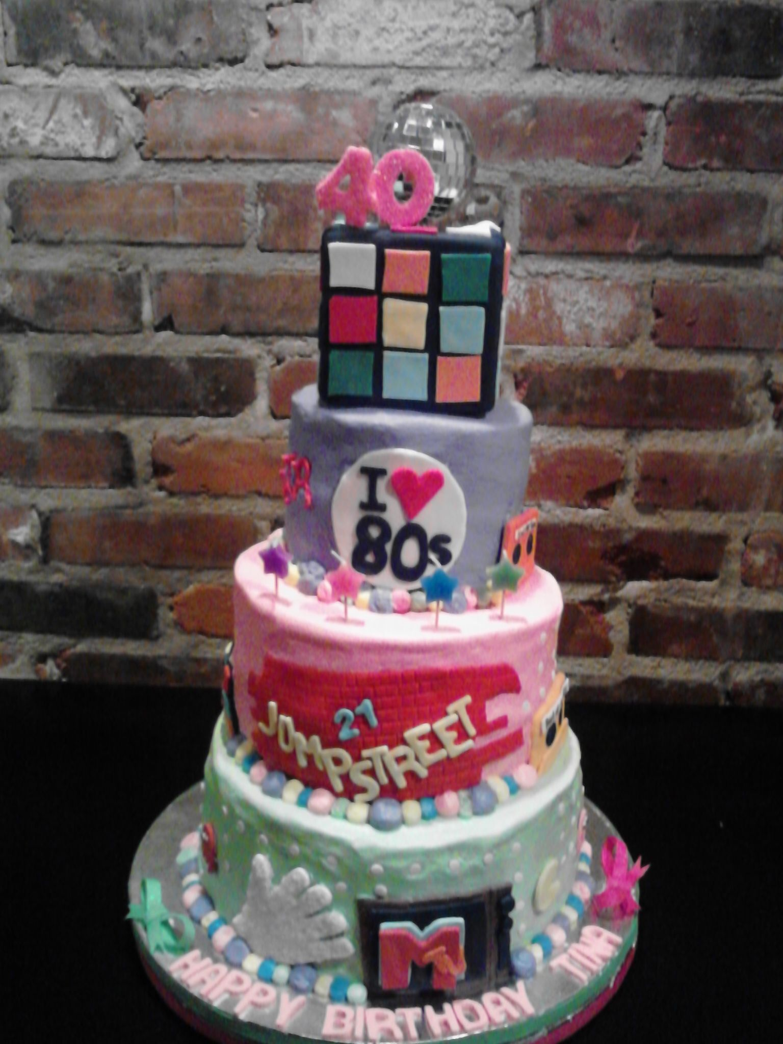 Terrific 80S Theme Birthday Cake With Images Cake Birthday Cake Birthday Funny Birthday Cards Online Barepcheapnameinfo