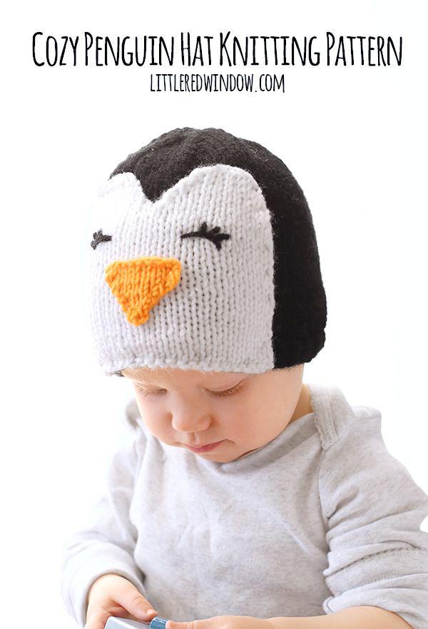 Cozy Penguin Hat Knitting Pattern   Stricken für baby, Stricken ...