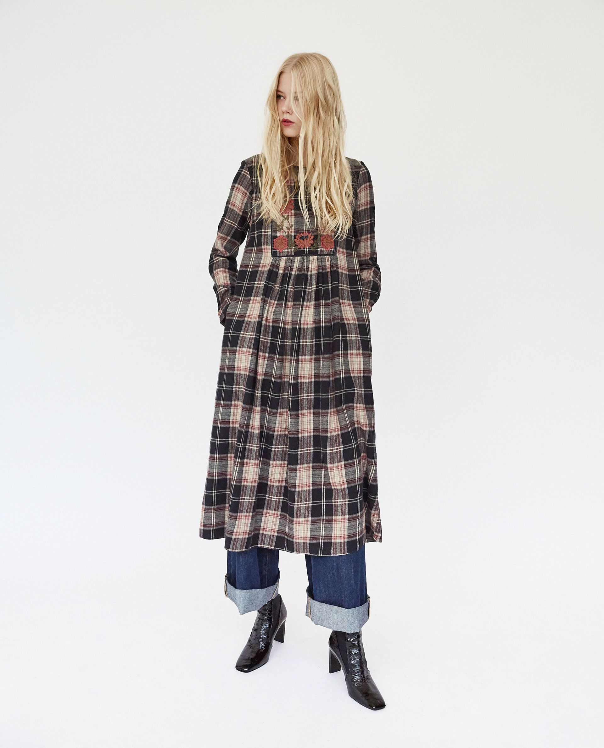 cfb82ef3 ZARA - TRF - EMBROIDERED CHECKED DRESS...kinda homely but I like it.