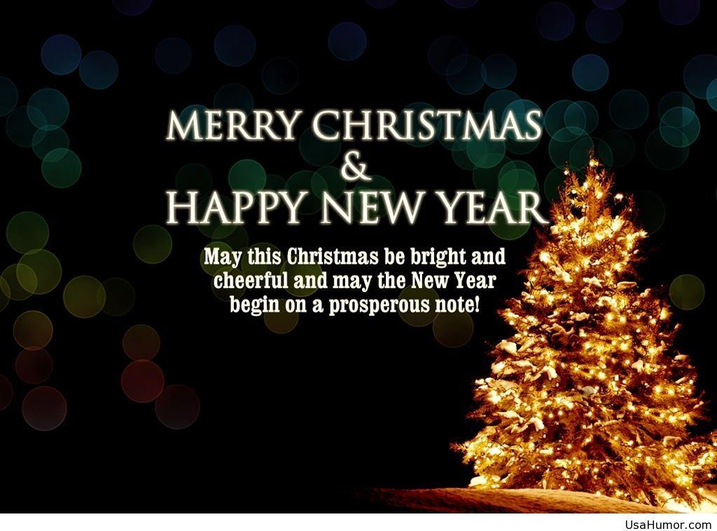 Happy New Year And Merry Christmas Quote Hd Wallpaper