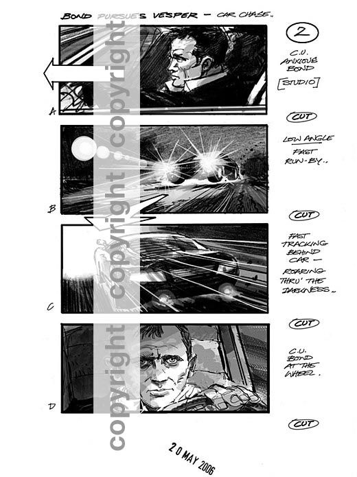 Combination of pencil and digital media in Asburyu0027s Casino Royale - comic storyboards