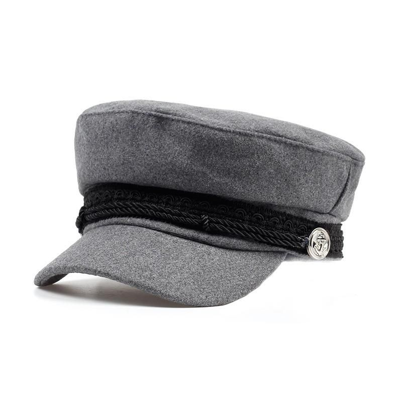 Fashion Solid Visor Military Hat Autumn and Winter Vintage Wool Patchwork Beret Cap England Style Flat Cap