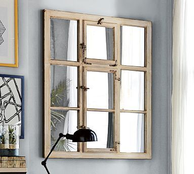 Rustic Paned Mirror Over Fireplace Potterybarn Decor Home