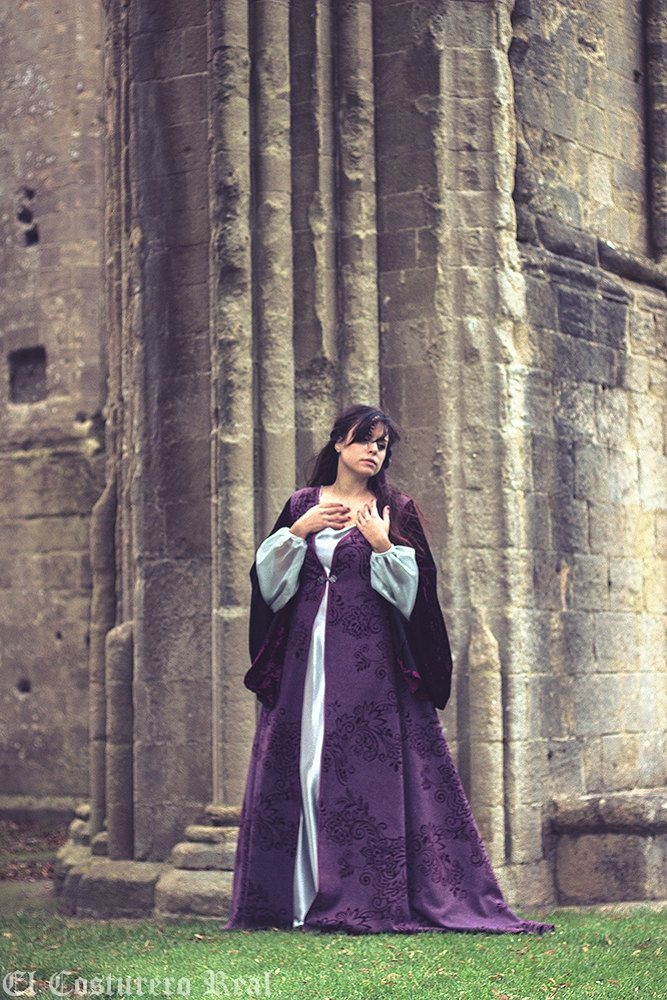 LIMITED EDITION  medieval costume summer surcoat dress elven coat purple by CostureroReal on Etsy