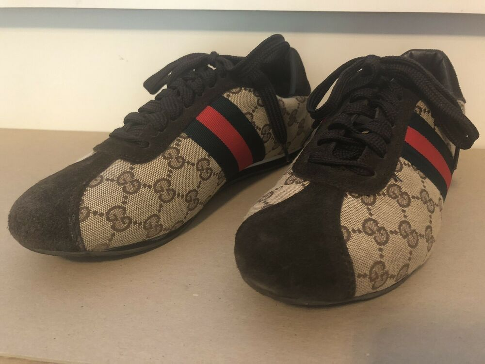 Gucci Womens Canvas Suede Logo Sneakers