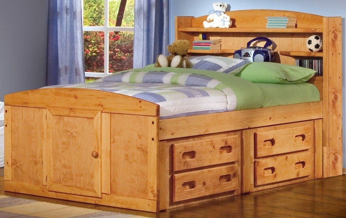 Kids bedroom elegant kids furniture wooden bed and rack with fancy