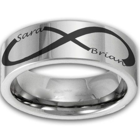 8MM Wide Custom Infinity Symbol Tungsten Ring w Two Name Couples