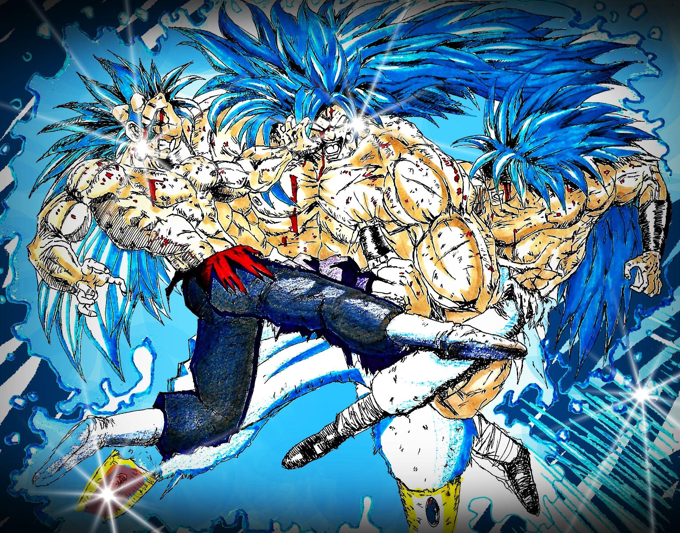 Gogeta Y Vegetto Luchando Contra Broly By Julianartfan Dragon