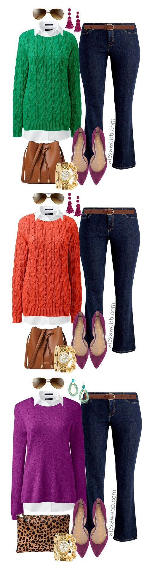Plus Size Bright Sweater Outfit Ideas - Alexa Webb #sweateroutfits