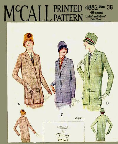 McCall 4882 by Jenny | 1927 Ladies' and Misses' Suit Coat
