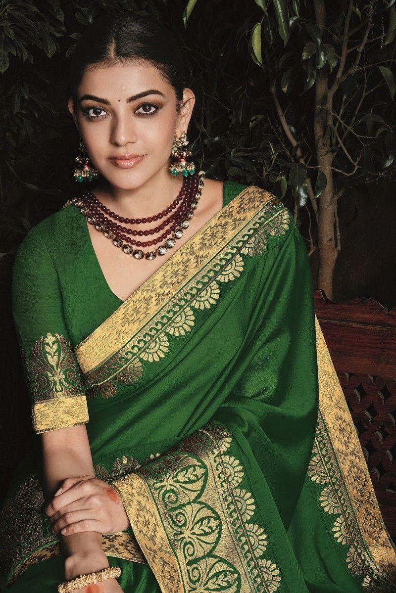 kajal aggarwal dark green colour 1220KM in 2020 Blouse