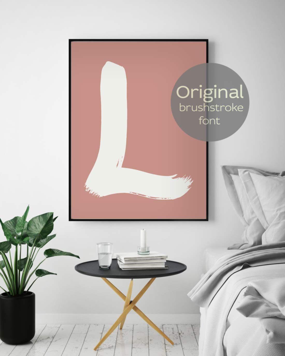 Room Decor Boho, L Letter Art, Brushstroke Art, Neutral Colors ...