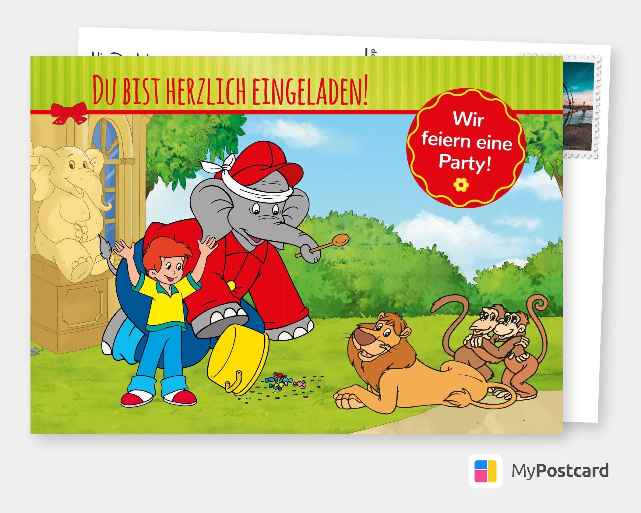 Benjamin Blumchen Party Einladung Comic Cartoons
