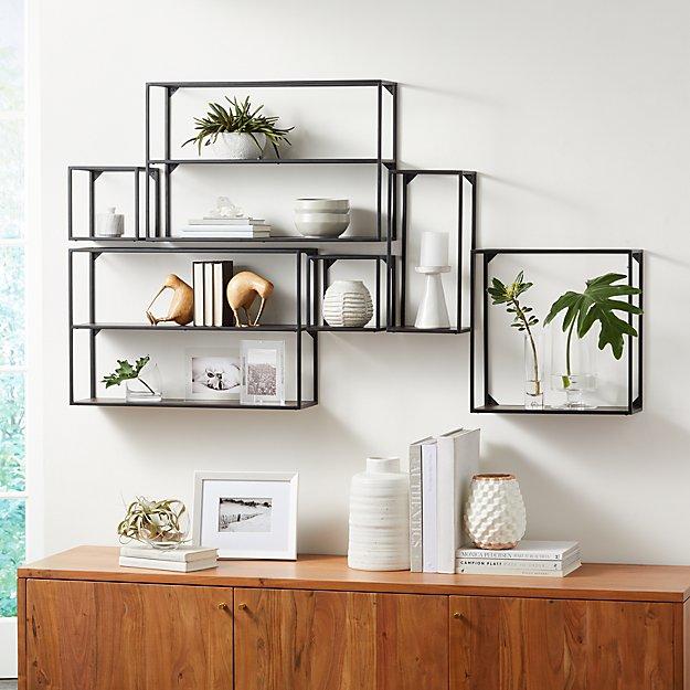 Booker Climbing Wall Display Shelf Set Of 6 Crate And Barrel Display Shelves Wall Shelf Decor Wall Shelves