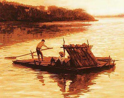 huck finn life on the raft vs land