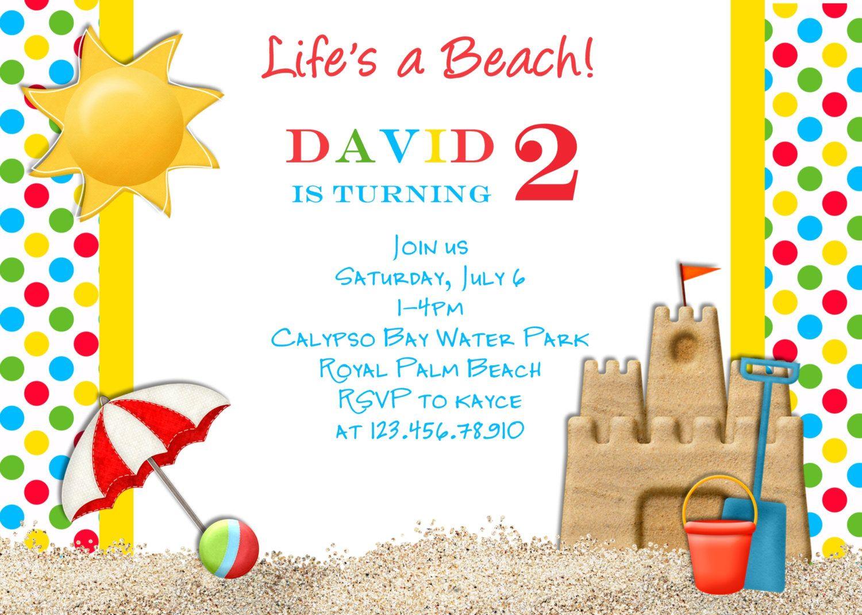 Beach Themed Wedding Invitations Uk: Beach Party Birthday Invitation Sandcastle Invite By