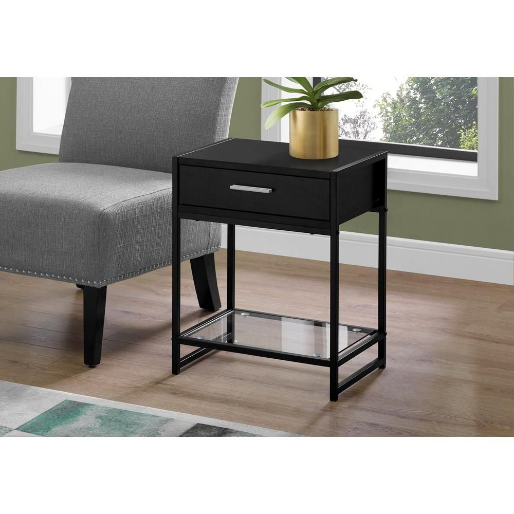 Monarch Specialties Black End Table With A Drawer Black End