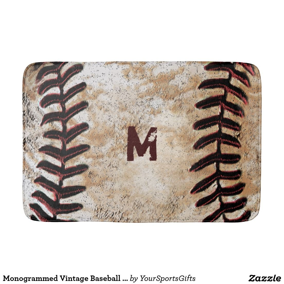Shop Monogrammed Vintage Baseball Bath Rug For Man Cave Created By YourSportsGifts