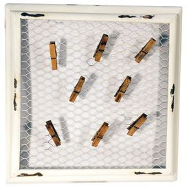 """Mesh wire photo holder with clothespin holders and a distressed frame.  Product: Memo boardConstruction Material: MetalColor: Antique whiteFeatures: Twelve clothespins includedDimensions: 16"""" H x 16"""" W x 1.5"""" D"""