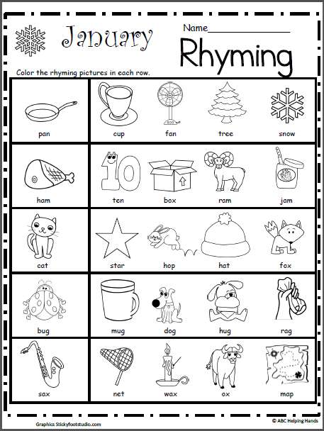 Rhyming Worksheet for January | Kindergarten January ...