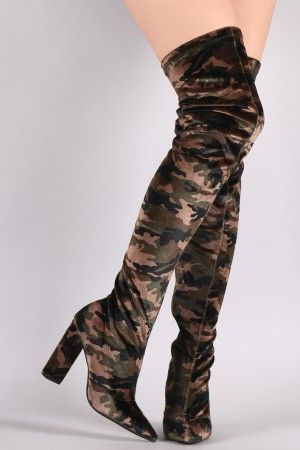 cf2ff31c30a Qupid Velvet Camouflage Chunky Heeled Over-The-Knee Boots