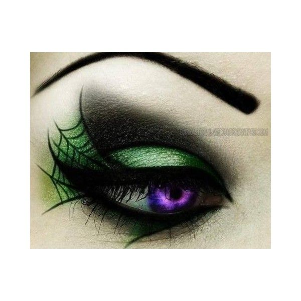 Smokey Green Spiderweb Eye Makeup Liked On Polyvore Featuring