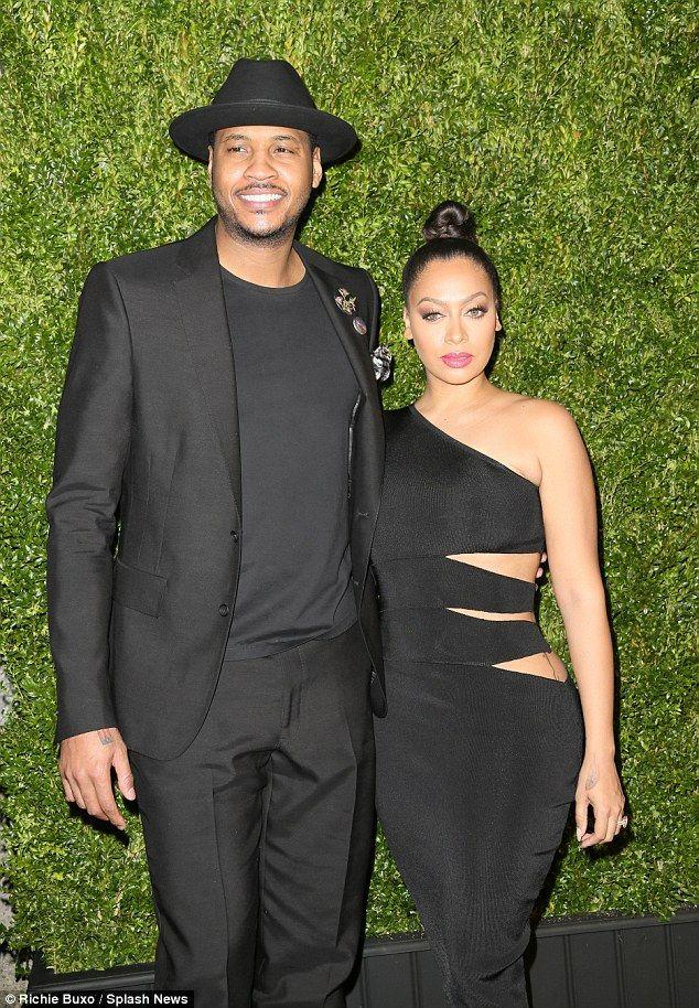 Date night: La La, 36, was joined by her husband Carmelo, 31...
