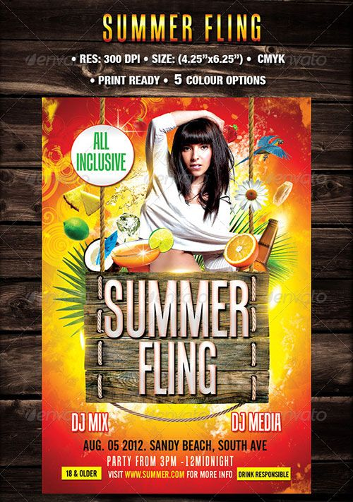 Tropical Summer Beach Pool Flyer Poster Template Free Club Party Psd