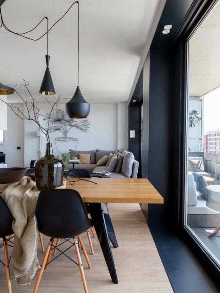 Graues Zimmer graues zimmer schwarze len und stühle einzimmerwohnung mit