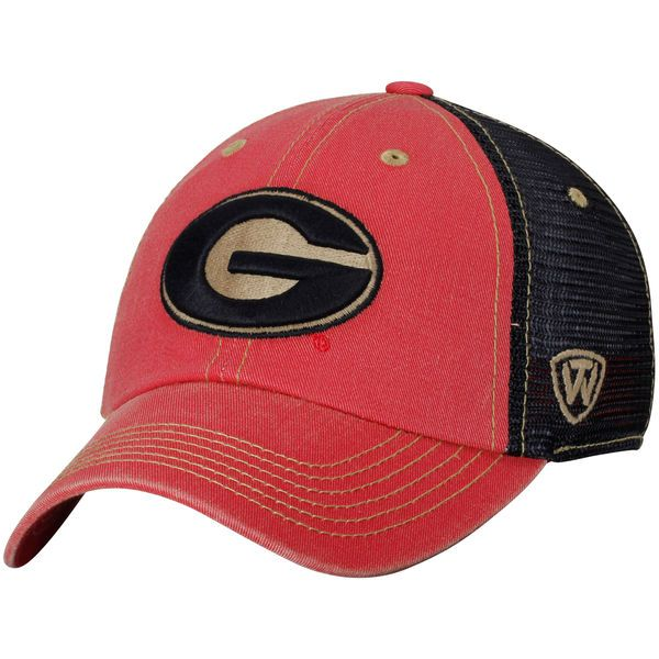 save off 07d24 3295f Georgia Bulldogs Top of the World Past Trucker Adjustable Hat - Red Black