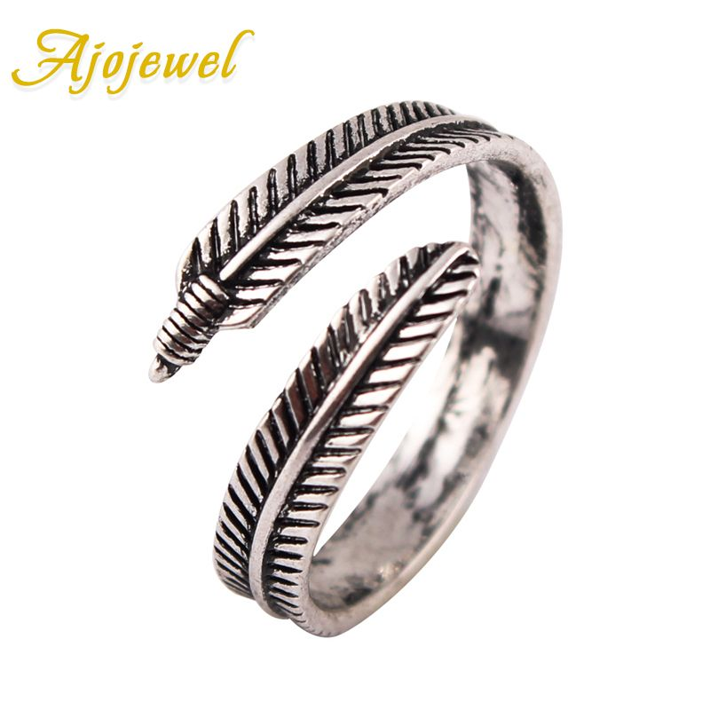 Ajojewel Simple Style Feather Design Vintage Antique Ring Without ...