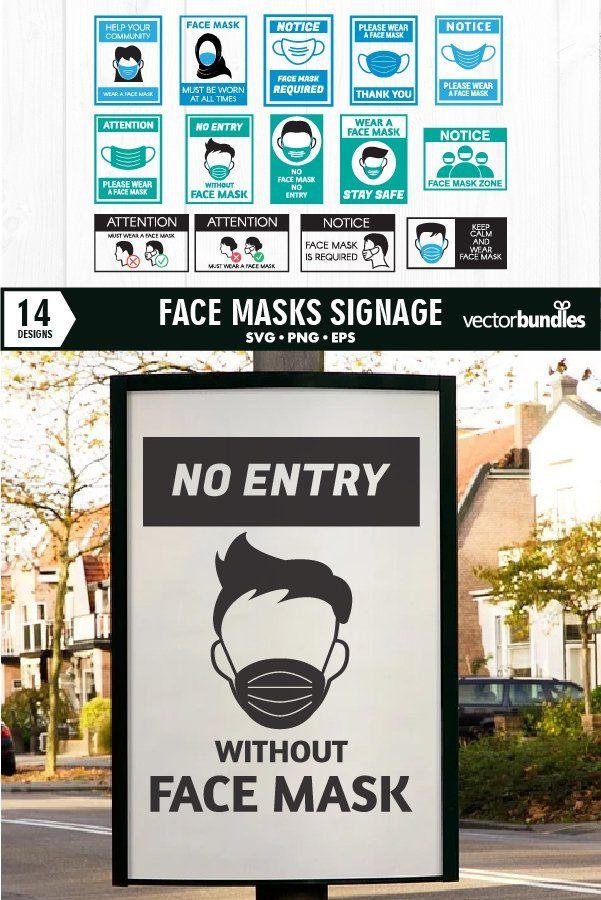 Face mask signage bundle svg (778307) Illustrations