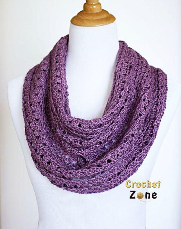 Perfectly Purple Crochet Scarf...so pretty. I just placed a large Knit Picks order with lots of new yummy colors and cannot wait to try this out in maybe a mint and gray combo!