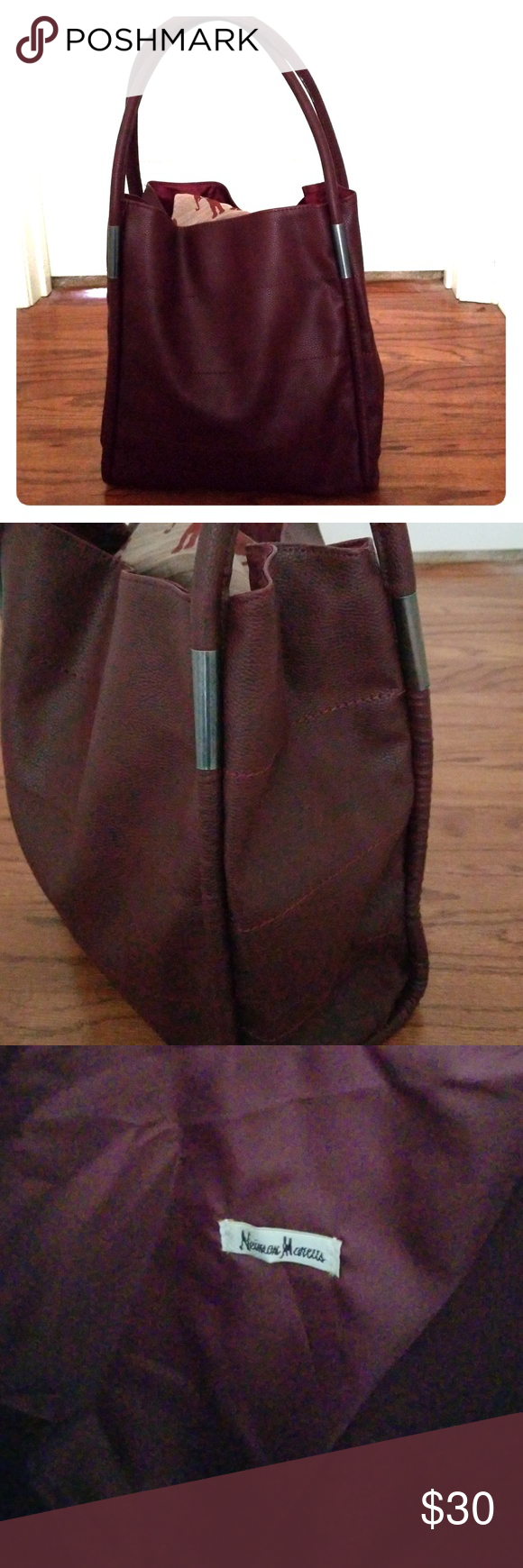 2037020b5d26 NEIMAN MARCUS tote NEIMAN MARCUS burgundy wine colored faux leather tote.  Approximately 12