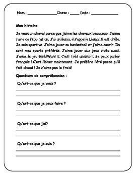 French Worksheet Les Vacances De Michel Reading Practice
