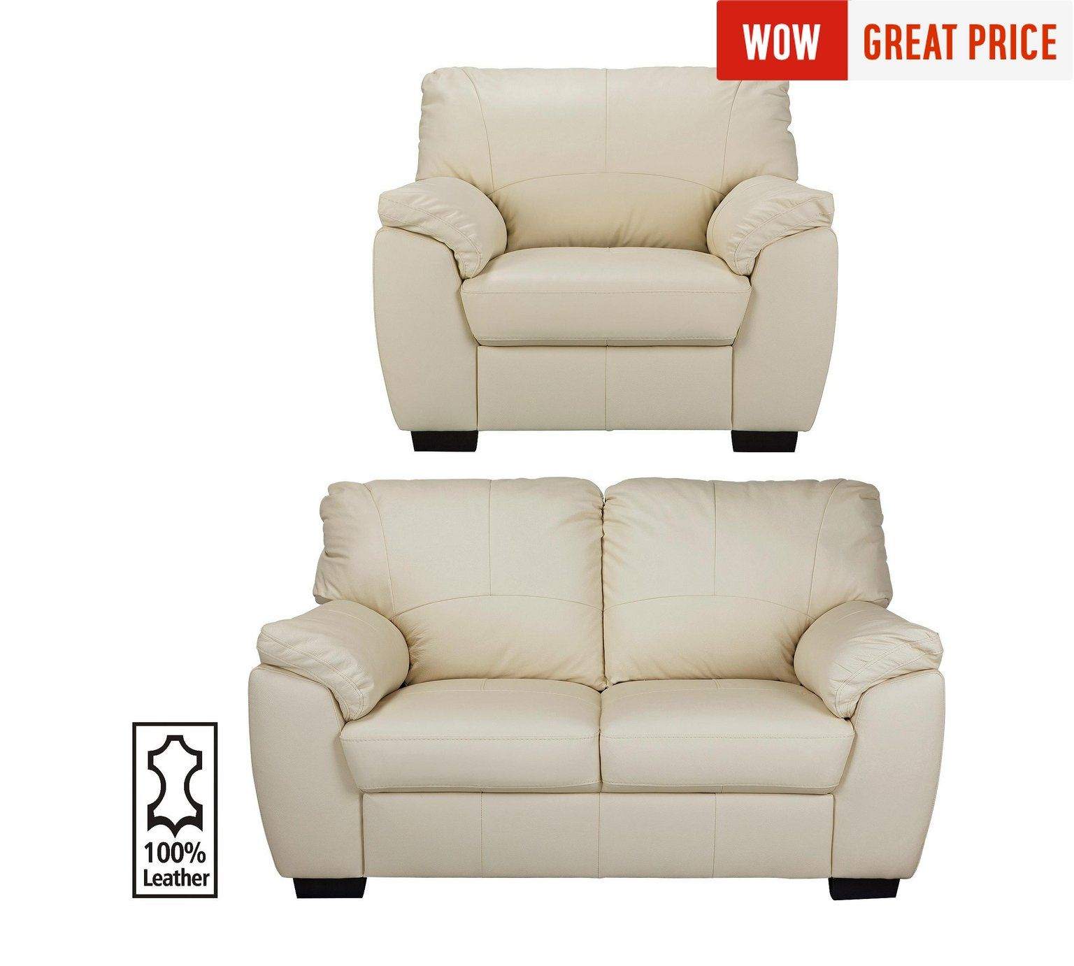 Buy Collection Milano Leather 2 Seater Sofa and Chair - Ivory at ...