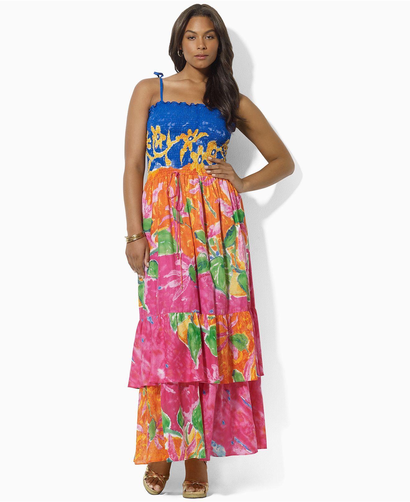 Lauren By Ralph Lauren Plus Size Dress Paolla Sleeveless Tiered