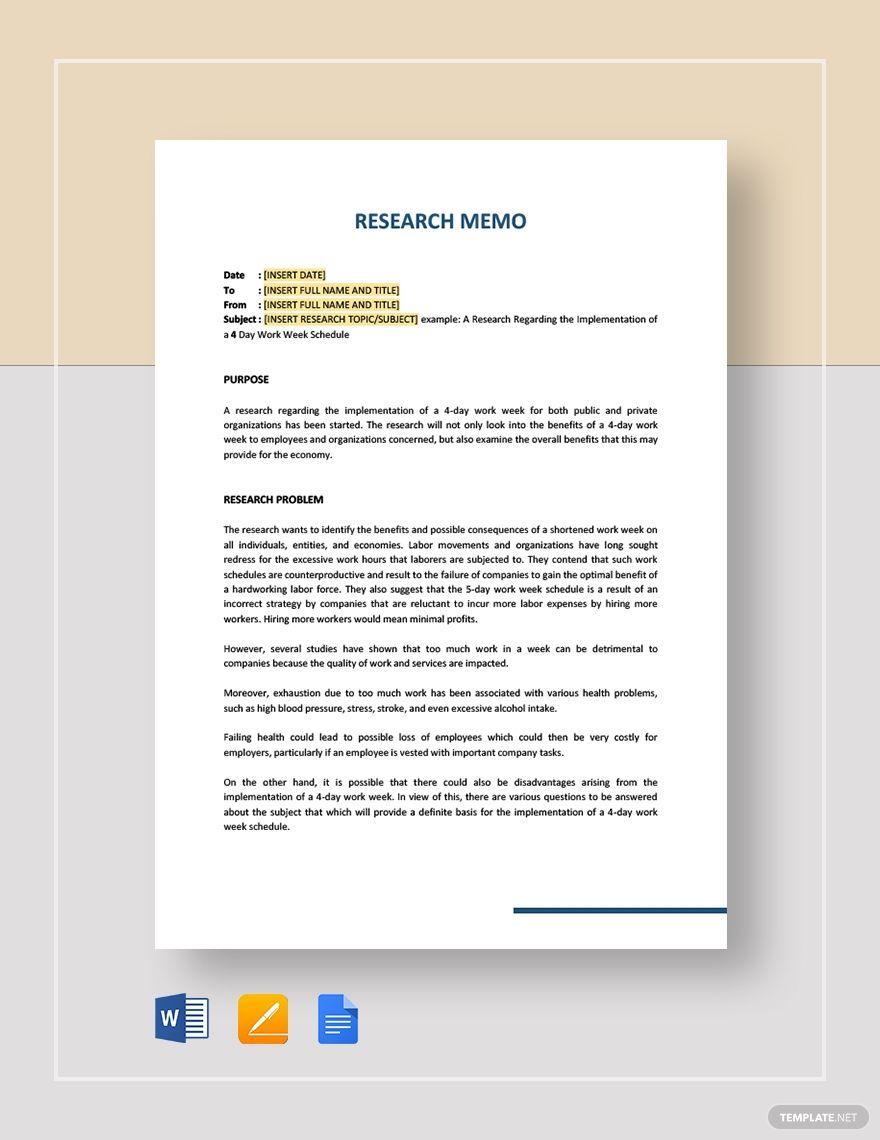 Research Memo In 2020 Memo Template Memo Templates
