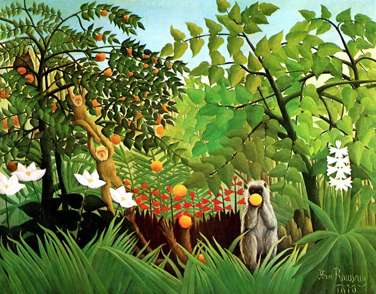 Carroyage d 39 henri rousseau par les ce2 un jardin des for Jardin des sens vietnam