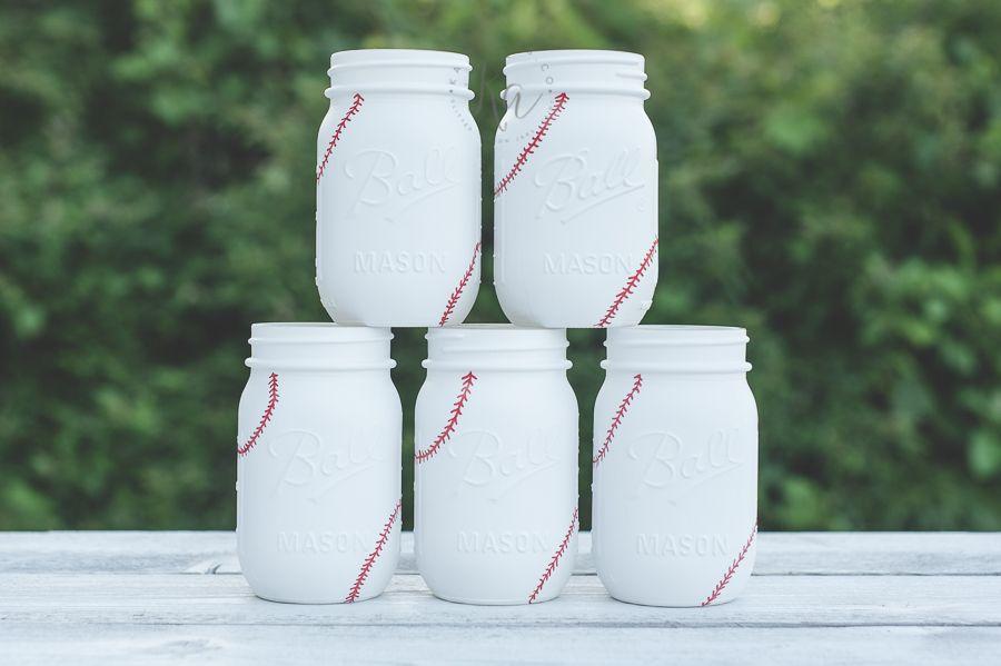 More Baseball Mason Jars Sprinkled and Painted at KA