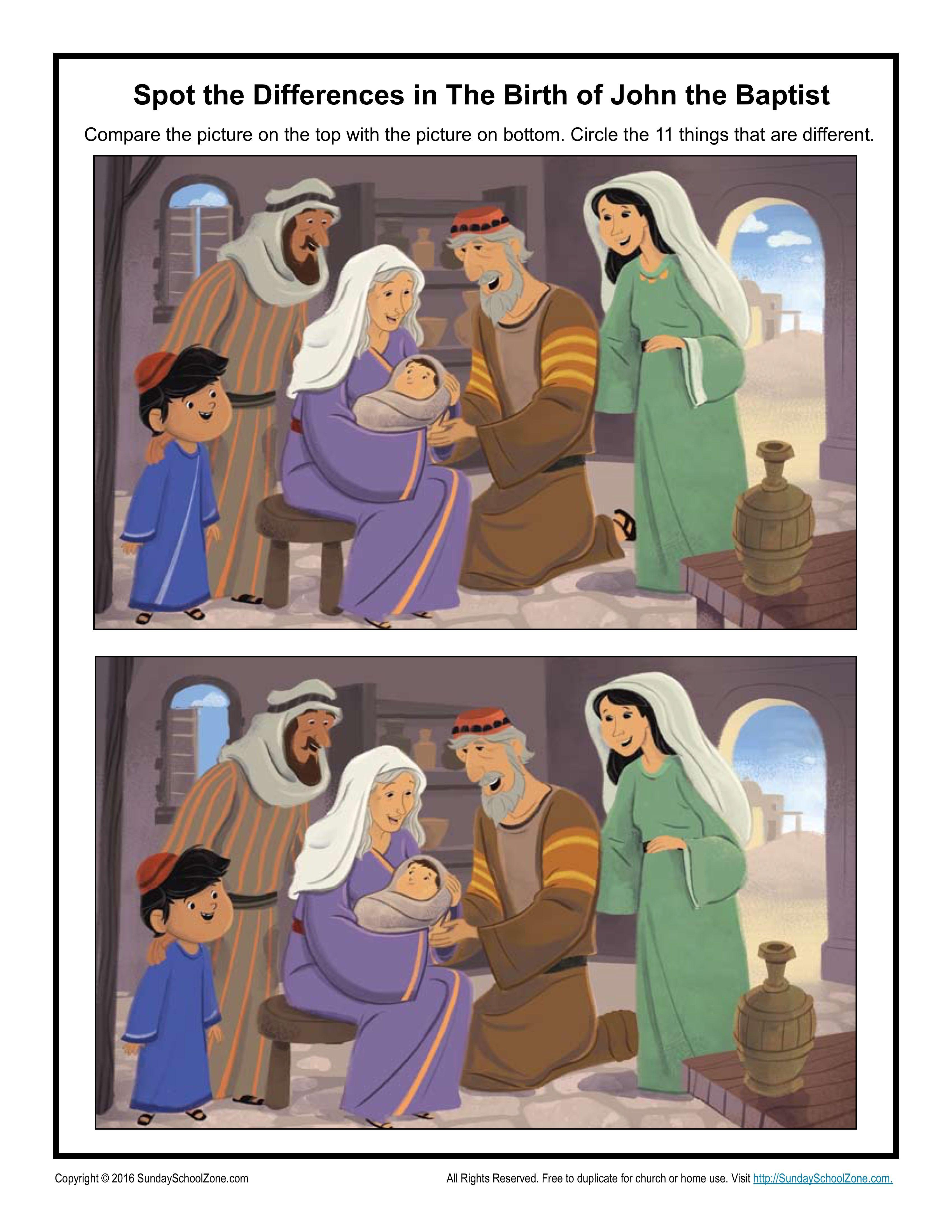 The Birth Of John The Baptist Spot The Differences