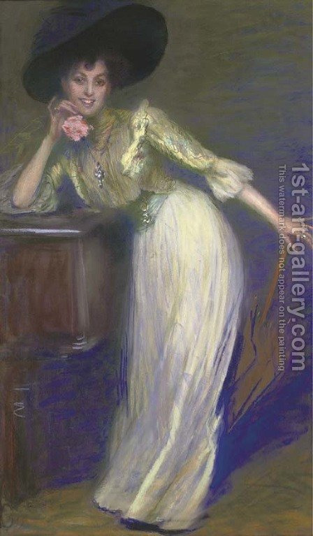 Portrait Of A Lady Holding A Pink Carnation Painting By Mary Eristova Kazak 1st Art Gallery In 2020 Pink Carnations Painting Portrait