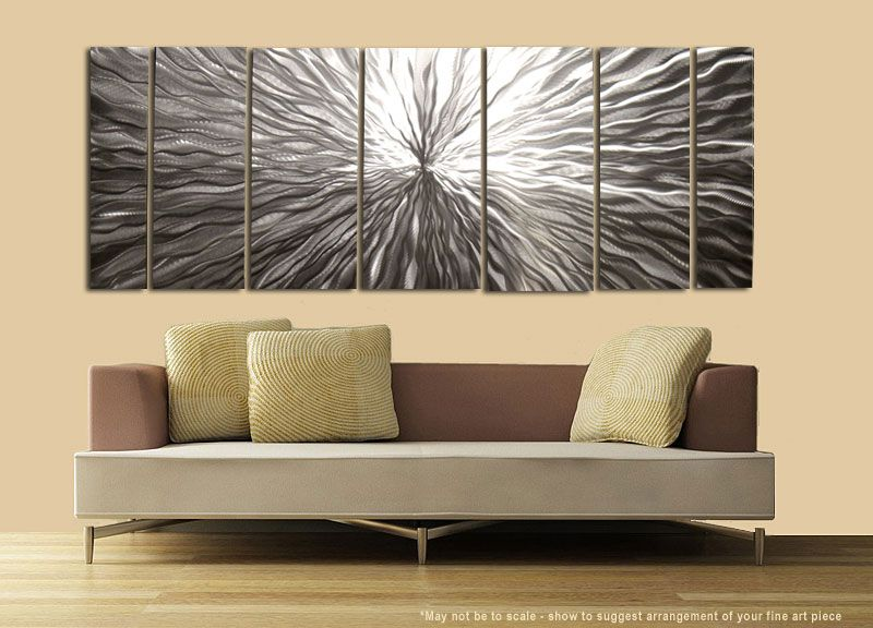 Modern Abstract Hand Crafted Silver Metal Wall Art Office Decor