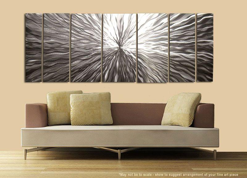 Modern Abstract Silver Metal Wall Art Sculpture Decor