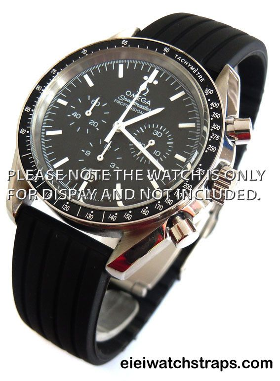 defa0678a09 20mm Silicon Rubber Watch strap with Stainless Steel Deployment For Omega  Speedmaster