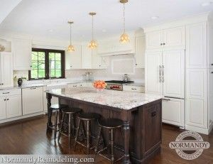 White Painted Kitchen Cabinets With Stained Trim And Island By Normandy Remodeling Designer Vince Weber