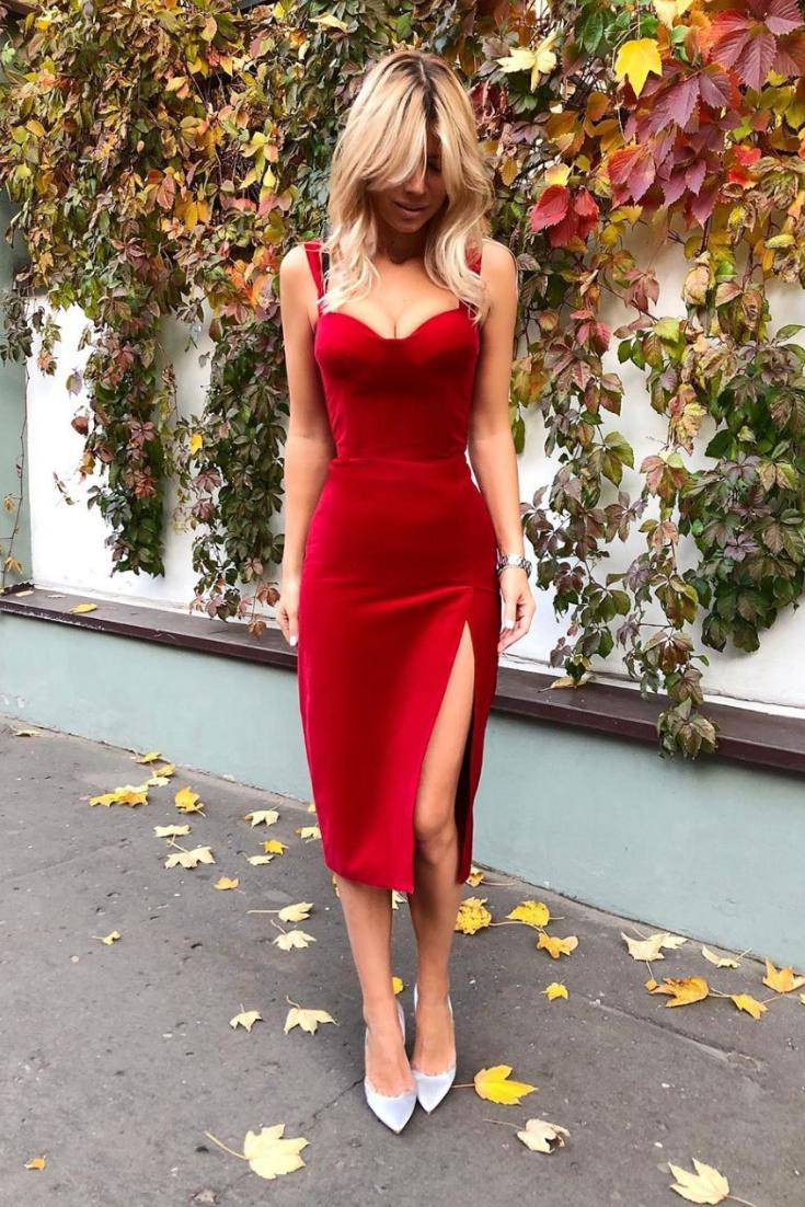 Платье-бюстье из красного бархата . Red Velvet Bustier ...